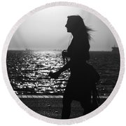 Silhouette Of A Woman Round Beach Towel