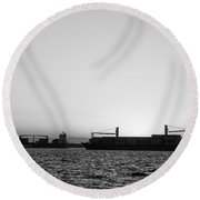 Silhouette Of Boats At Sunset Round Beach Towel