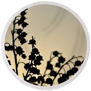 Silhouette Of Lilies Of The Valley 2 Round Beach Towel