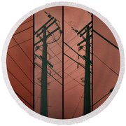 Silhouette Of Power. Round Beach Towel
