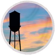 Silhouette Of Small Town Water Tower Round Beach Towel