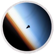Silhouette Of Space Shuttle Endeavour Round Beach Towel