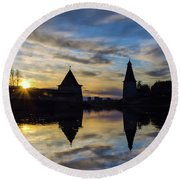 Silhouette Of Stronghold And Sunset. Pskov Kremlin. Russia Round Beach Towel