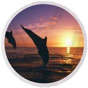 Silhouette Of Two Bottlenose Dolphins Round Beach Towel
