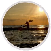 Silhouette Of Woman Kayaking In The Ocean. Round Beach Towel
