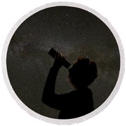Silhouette Of Woman Looking At Stars Round Beach Towel