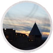 Silhouetted Castle Round Beach Towel