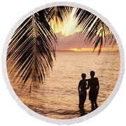 Silhouetted Couple Round Beach Towel