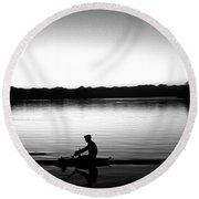 Silhouetted Crewman Rowing  Round Beach Towel
