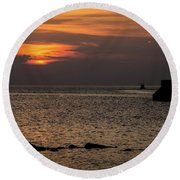 Silhouetted North Pier  Round Beach Towel