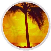Silhouetted Palm Round Beach Towel