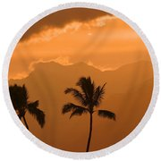 Silhouetted Palms Round Beach Towel