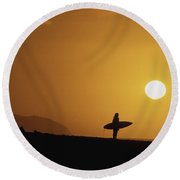 Silhouetted Surfer Round Beach Towel