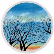 Silhouettes Against The Sky Round Beach Towel