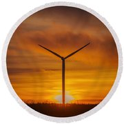 Silhouettes Of Wind Turbines With A Beautiful Sunset Round Beach Towel