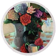 Silk Flowers Round Beach Towel