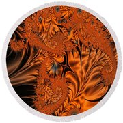 Silk In Orange Round Beach Towel