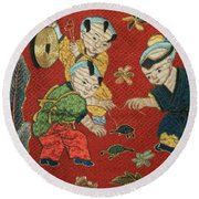 Silk Robe - Children Playing With Turtle Round Beach Towel