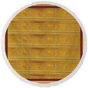 Silken Gold Border Stripes With Jewel Imprint Elegant Border Energy Healing Art By Navinjoshi Finear Round Beach Towel