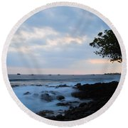 Silky Waves At Dusk Round Beach Towel