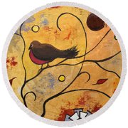 Silly Bird Round Beach Towel