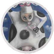 Silly Cow Round Beach Towel