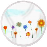 Silly Fractal Garden Round Beach Towel