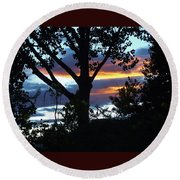 Silohuettes Of Trees Round Beach Towel
