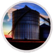 Silos At Sunset Round Beach Towel