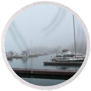 Silver Bay Marina Round Beach Towel