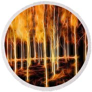 Silver Birches Flaming Abstract  Round Beach Towel