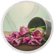 Silver Container With Fresh Tulips Round Beach Towel