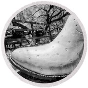 Silver Cowboy Boot Round Beach Towel