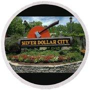 Silver Dollar City Sign Round Beach Towel