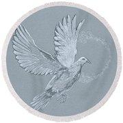 Silver Dove Round Beach Towel