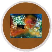 Silver Dreams Of The Desert Round Beach Towel