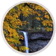 Silver Falls State Park Oregon Round Beach Towel