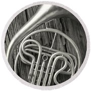 Silver French Horn Round Beach Towel
