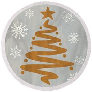 Silver Gold Tree Round Beach Towel