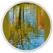 Silver Lake Autum Tree Reflections Round Beach Towel