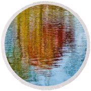 Silver Lake Autumn Reflections Round Beach Towel