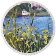 Silver Lake Blossoms Round Beach Towel