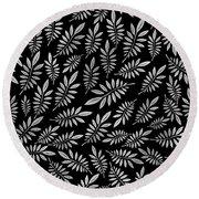 Silver Leaf Pattern 2 Round Beach Towel
