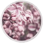 Silver Lilacs Round Beach Towel
