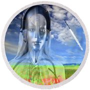 Silver Machine Round Beach Towel
