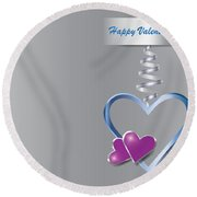 Silver Metal Frame Heart With Two Little Purple Hearts Round Beach Towel