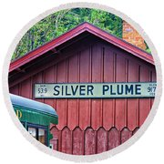 Silver Plume Station Round Beach Towel