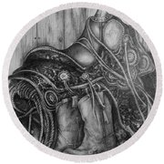 Silver Sands- Saddle And Boots Round Beach Towel