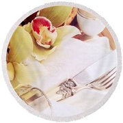 Silver Service Breakfast Setting Round Beach Towel