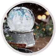 Silver Snow Globe With White Christmas Trees Round Beach Towel